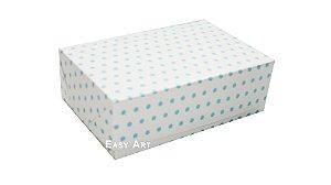 Caixas para 6 Brigadeiros - Branco com Poás Azuis