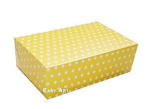Caixas para 12 Brigadeiros - Amarelo com Poás Brancas