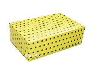 Caixas para 12 Brigadeiros - Amarelo com Poás Marrom