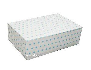 Caixas para 12 Brigadeiros - Branco com Poás Azuis
