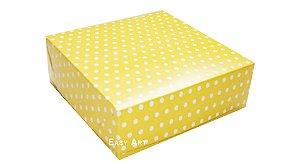 Caixas para 16 Brigadeiros - Amarelo com Poás Brancas
