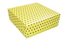 Caixas para 16 Brigadeiros - Amarelo com Poás Marrom