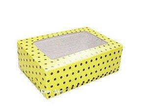 Caixa para 6 Brigadeiros - Amarelo com Poás Marrom