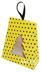 Caixa Árvore de Natal - Amarelo com Poás Marrom