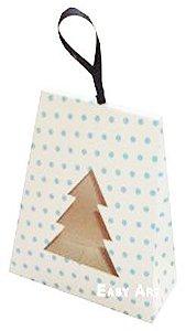 Caixa Árvore de Natal - Branco com Poás Azuis