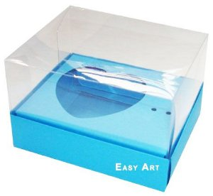 Caixa Coração de Colher / 100g - Azul Turquesa - Pct com 10 Unidades