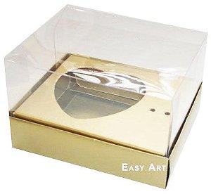 Caixa Coração de Colher / 100g - Dourado - Pct com 10 Unidades