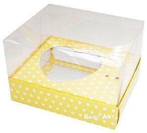 Caixa Coração de Colher / 100g - Amarelo com Poás Brancas - Pct com 10 Unidades