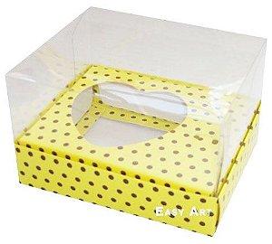 Caixa Coração de Colher / 100g - Amarelo com Poás Marrom - Pct com 10 Unidades