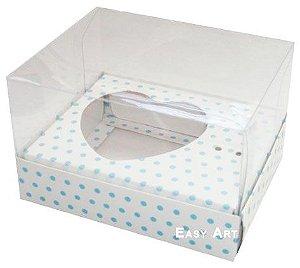 Caixa Coração de Colher / 100g - Branco com Poás Azuis - Pct com 10 Unidades
