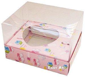 Caixa Coração de Colher / 100g - Estampado Bebê Rosa - Pct com 10 Unidades