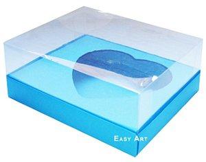 Caixa Coração de Colher / 250g - Azul Turquesa - Pct com 10 Unidades
