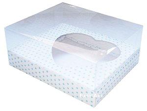 Caixa Coração de Colher / 250g - Branco com Poás Azuis - Pct com 10 Unidades