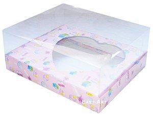 Caixa Coração de Colher / 250g - Estampado Bebê Rosa - Pct com 10 Unidades