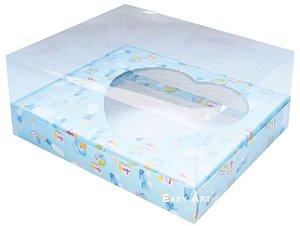 Caixa Coração de Colher / 250g - Estampado Bebê Azul - Pct com 10 Unidades