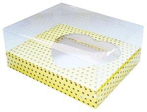Caixa Coração de Colher / 500g - Amarelo com Poá Marrom - Pct com 10 Unidades