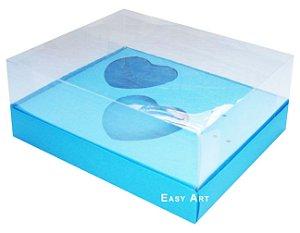 Caixa Coração de Colher / 2x 100g - Azul Turquesa - Pct com 10 Unidades