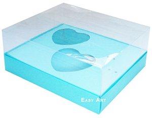 Caixa Coração de Colher / 2x 100g - Azul Tiffany - Pct com 10 Unidades
