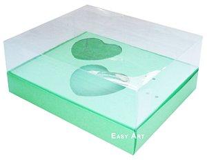 Caixa Coração de Colher 2x de 100g - Verde Pistache - Pct com 10 Unidades