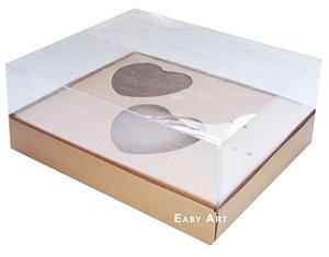 Caixa Coração de Colher 2x de 100g - Marrom Claro - Pct com 10 Unidades