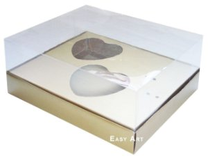 Caixa Coração de Colher / 2x 100g - Dourado - Pct com 10 Unidades