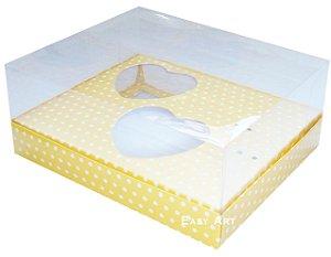 Caixa Coração de Colher / 2x 100g - Amarelo Poá Branca - Pct com 10 Unidades