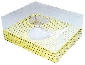 Caixa Coração de Colher / 2x 100g - Amarelo Poá Marrom - Pct com 10 Unidades