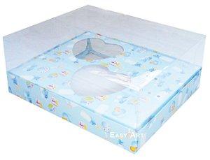 Caixa Coração de Colher / 2x 100g - Estampado Bebê Azul - Pct com 10 Unidades