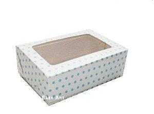 Caixa para 12 Brigadeiros - Branco com Poás Azuis