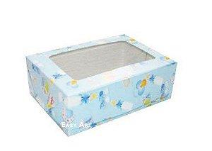 Caixa para 12 Brigadeiros - Estampado Bebê Azul
