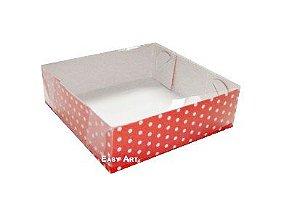 Caixas para 4 Brigadeiros - Vermelho com Poás Brancas