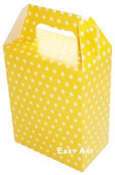 Caixa Maleta - Amarelo com Poás Brancas