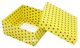 Caixa Tiffany Grande - Amarelo com Poás Marrom