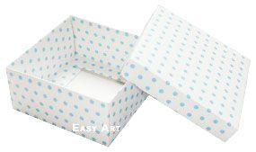 Caixa Tiffany Grande - Branco com Poás Azuis