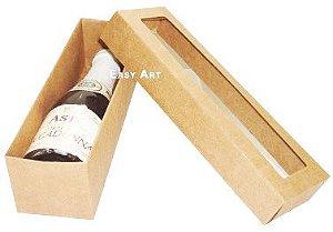 Caixa para Mini Vinho Com Visor - Kraft