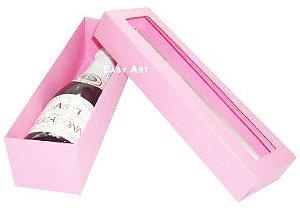 Caixa para Mini Vinho Com Visor - Rosa Claro