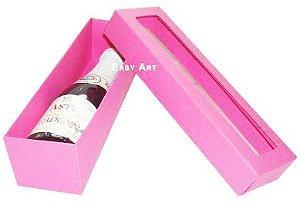 Caixa para Mini Vinho Com Visor - Pink