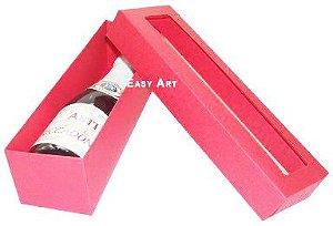 Caixa para Mini Vinho Com Visor - Vermelho