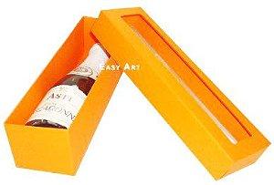 Caixa para Mini Vinho Com Visor - Laranja