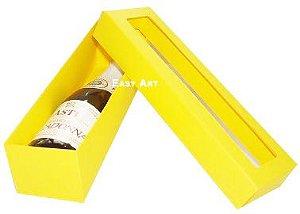 Caixa para Mini Vinho Com Visor - Amarelo