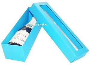 Caixa para Mini Vinho Com Visor - Azul Turquesa
