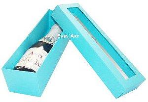Caixa para Mini Vinho Com Visor - Azul Tiffany