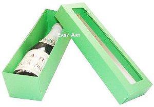 Caixa para Mini Vinho Com Visor - Verde Pistache