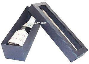 Caixa para Mini Vinho Com Visor - Preto