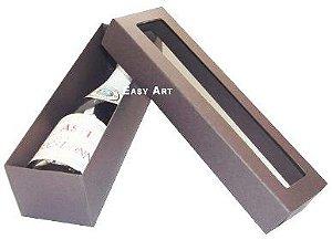 Caixa para Mini Vinho Com Visor - Marrom Chocolate
