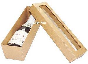 Caixa para Mini Vinho Com Visor - Marrom Claro