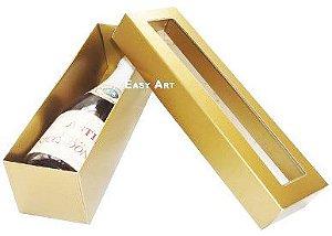 Caixa para Mini Vinho Com Visor - Dourado Brilhante