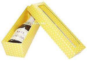 Caixa para Mini Vinho Com Visor - Amarelo com Poás Brancas