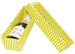 Caixa para Mini Vinho Com Visor - Amarelo com Poás Marrom