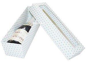 Caixa para Mini Vinho Com Visor- Branco com Poás Azuis
